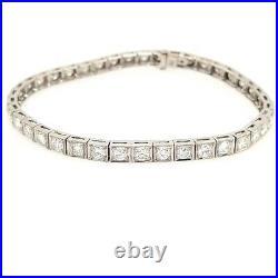 Platinum Diamond Tennis Bracelet White Gold Art Deco 4.80CTW