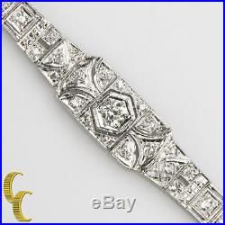 Platinum Vintage Art Deco Diamond Station Bracelet European Cut TDW = 5.50 ct