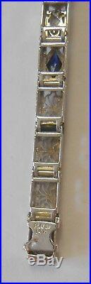 Platinum on 14K Gold Filigree Mine Cut Diamond & Sapphire Art Deco Bracelet 6.5