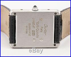 Pre-Owned. 925 Silver Cartier Tank Quartz Ref. 681006 with Cartier Box