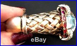 RARE Art Deco Mazer Sterling Hinged Bracelet WithEmerald Cut Aqua Rhinestone/Red