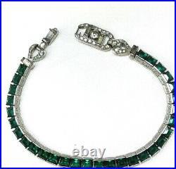 RARE Crown Trifari Alfred Philippe Invisibly Set Emerald Rhinestone Bracelet