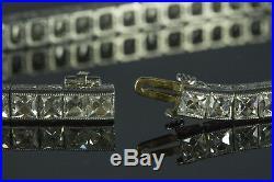 RARE INCREDIBLE ART DECO PLATINUM 9.86cts FRENCH CUT DIAMOND LINE BRACELET