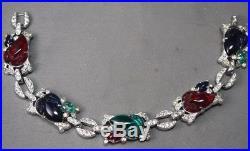 RARE KTF Trifari Fruit Salad Art Deco Rhinestone Inset Link Bracelet