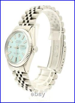 ROLEX Oyster Perpetual DateJust 36mm ICE BLUE luminescent Dial Steel men's Watch