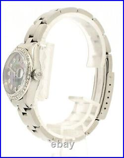 ROLEX Oyster Perpetual Datejust 26mm TAHITIAN Dial Stainless Steel Diamond Watch