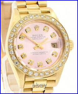 ROLEX President 18k Yellow Gold Oyster Perpetual Datejust 26mm Diamonds Watch