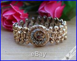 Rare Antique Art Deco Biedermeier 800 Silver Gilt Expandable Bracelet Moon Star