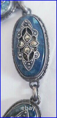 Rare Antique Sterling Silver Victorian Revival Marcasite Blue Lapis Bracelet