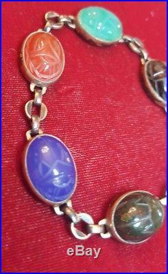 Rare Antique Symmetalic 14k Sterling Carved Scarab Bracelet Art Deco Egytian