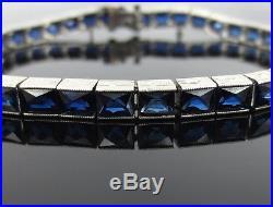 Rare Art Deco 11.50ct French Cut Natural Untreated Sapphire Platinum Bracelet