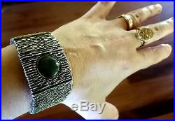 Rare Art Deco Egyptian Revival Locket / Secret compartment 74g Silver Bracelet