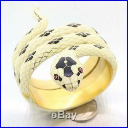 Rare Art Deco Tiffany & Co. 18k Yellow Gold Enamel Coil Snake Bangle Bracelet B9