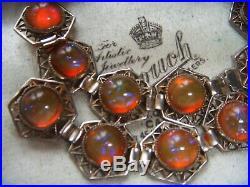 Rare Art Deco Vintage Czech Dragons Breath Magic Glass Cabachon Panel Bracelet