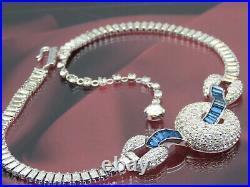 Rare Vintage JOMAZ Art Deco Look Sapphire & Pave Crystal RS Necklace & Bracelet