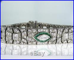 Rare Vintage Platinum Art Deco Diamond and Emerald Antique Bracelet 8.50 CT