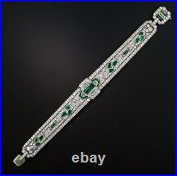Real 925 Sterling Silver Art Deco Emerald 22.60ct & Diamond Women's Bracelet