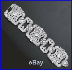 Real 925 Sterling Silver CZ Bracelet White Round Vintage style Art deco -Royale`