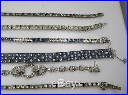Repair Lot Of 6 Vintage Paste Bracelet Sterling Silver Blue White Green Art Deco