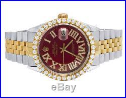 Rolex Datejust Two Tone 18K/ Steel 36MM Jubilee Red Dial Diamond Watch 4.0 Ct