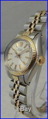 Rolex Oyster Perpetual 14k/ss GOLD & Steel Ladies Watch SIlver Dial 2 Tone 1977