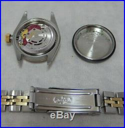 Rolex Oyster Perpetual 14k/ss Ladies Watch Gold Dial Orig Jubilee Bracelet 1980