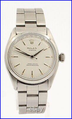 Rolex Oyster Precision Stainless Steel Manual Wind 34mm Watch Ref 6480