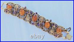 SCHIAPARELLI Art Deco Dragon Art Glass Bracelet Rare Vintage