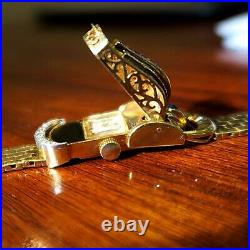 Scarce Womens 18k Gold Diamond And Sapphire Rolex Bracelet Watch 17 Jewel Manu