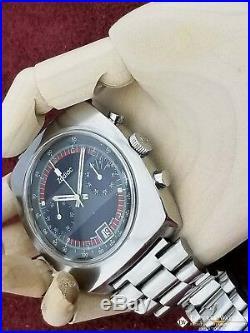 Serviced Vintage Zodiac Chronograph Cushion Watch Valjoux 7734 Poor Man Bracelet
