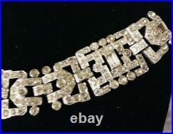 Shimmering KTF Trifari Signed Art Deco Rhinestone Embedded Vintage Link Bracelet