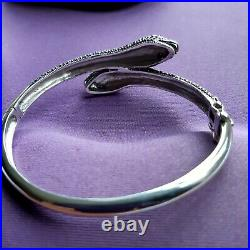 Snake Bangle Bracelet sterling silver 925 Marcasite Ruby Eyes Art Deco style