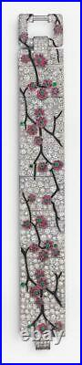 Solid 925 Sterling Silver Art Deco Cherry Blossom Broad Bracelet Jewelry Gift