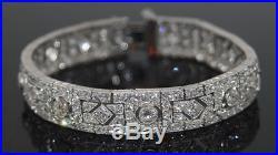 Solid 925 Sterling Silver Art Deco Wedding Bracelet Jewelry Cz Women Gift White