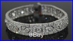 Solid 925 Sterling Silver Art Deco Wedding Bracelet Jewelry Women Gift White