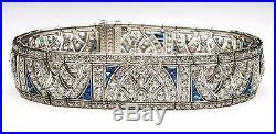 Solid 925 Sterling silver Art Deco Cuff Wedding bracelet Jewelry Cz Women Gift