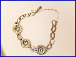 Sparkly Art Deco 4.50ct Natural Blue Zircon 10k Rose Gold Circle Bracelet Beauty