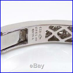 Sterling Silver 0.40ctw Diamond Geometric Art Deco Style Cuff Bracelet LDK3