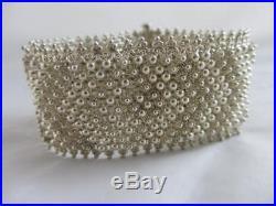 Sterling Silver Wide Bracelet Vintage Art Deco c1920. Tbj05018