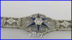 Stunning Antique Art Deco Filigree 14k White Gold Diamond Sapphire Bracelet