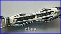 Stunning Antique Esemco 14k White Gold Art Deco Filigree Link Belly Bracelet