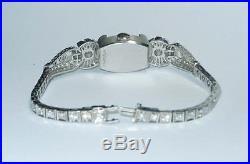 Stunning Art Deco Hamilton 1.54ct Diamond Platinum Bracelet Mystery Flip Watch