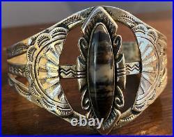 Stunning Art Deco Navajo Sterling And Petrified Wood Bracelet Fred Harvey Era