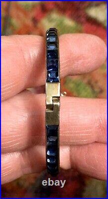 Stunning Art Deco Sterling Channel Set Faux Sapphire Hinged Bangle Bracelet