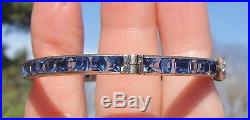 Stunning Diamonbar Art Deco Sterling Faux Sapphire Hinged Buckle Bangle Bracelet