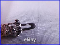 Super Art Deco 10k Solid White Gold Filigree Diamond Sapphire Stone Bracelet