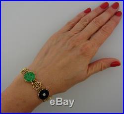 TIFFANY & Co Jade Black Onyx Diamond Yellow Gold Chinois BRACELET 1930s Art Deco