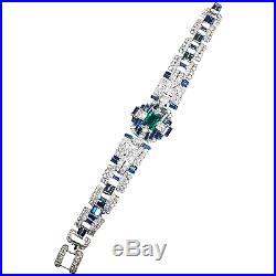 TRIFARI Alfred Philippe 1930's Art Deco Emerald Baguette Sapphire Pavé Bracelet