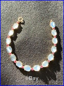 Tiffany & Co 14K Gold Art Deco Moonstone Ruby Bracelet Stunning 22 CTW Numbered