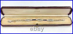 Tiffany & Co Art Deco Platinum Diamond Sapphire Bracelet 3.2 TCW Original Box